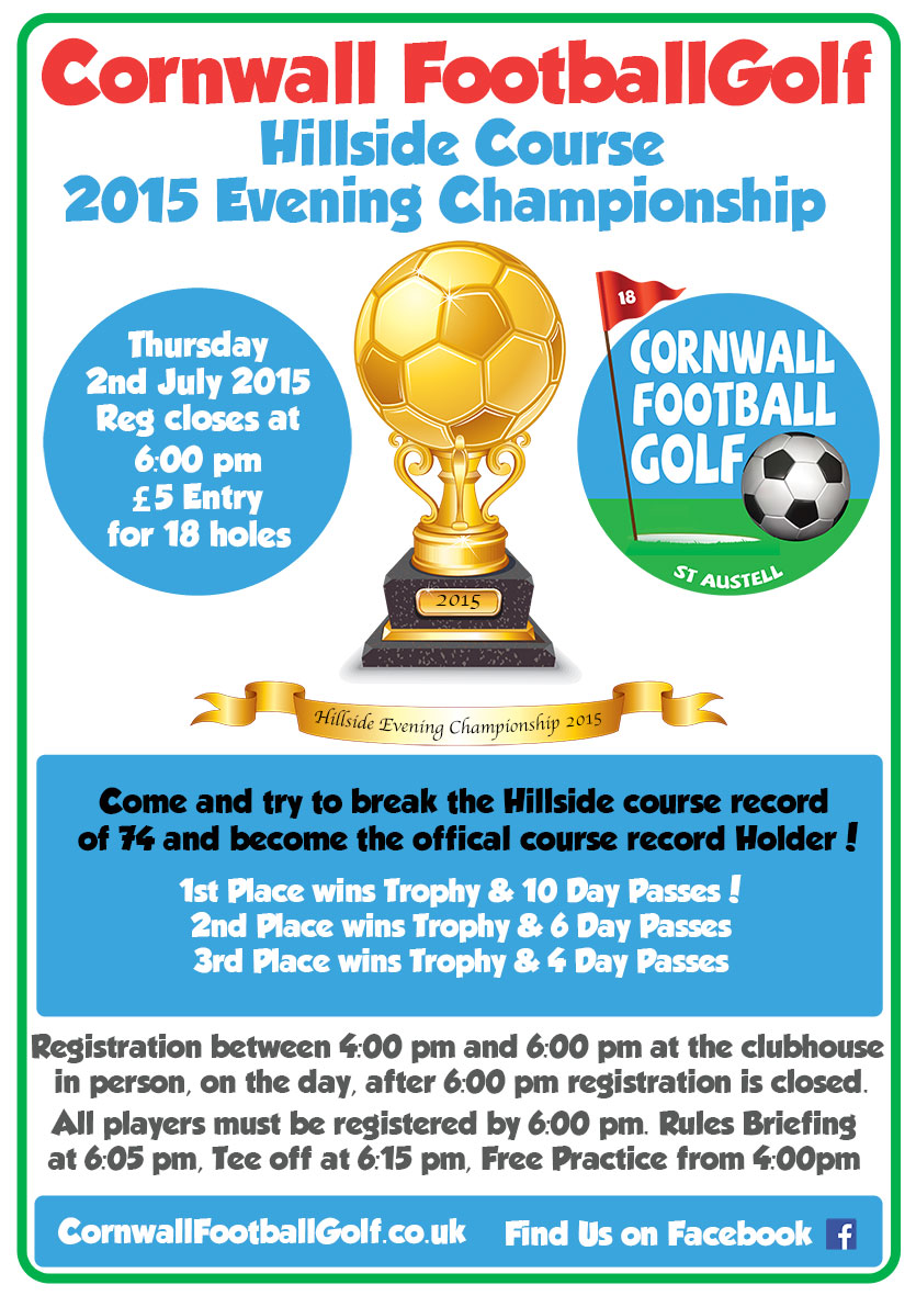 Cornwall Football Golf Hillside summer Championship tournament, Win prizes, become the Football Golf Champion in our summer Football golf competition